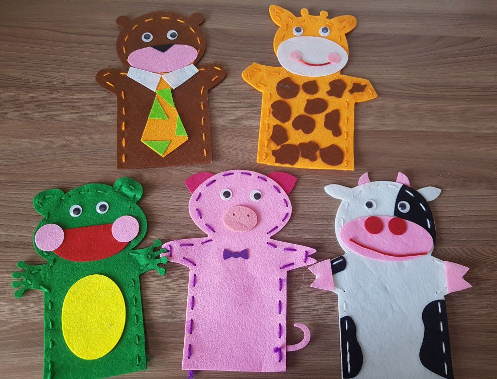 5pcs Set DIY Handmade  Kit Hand Puppet Story Telling Sewing Craft for Kids Animal Cow Frog Educational Toys for Kindergarten photo review
