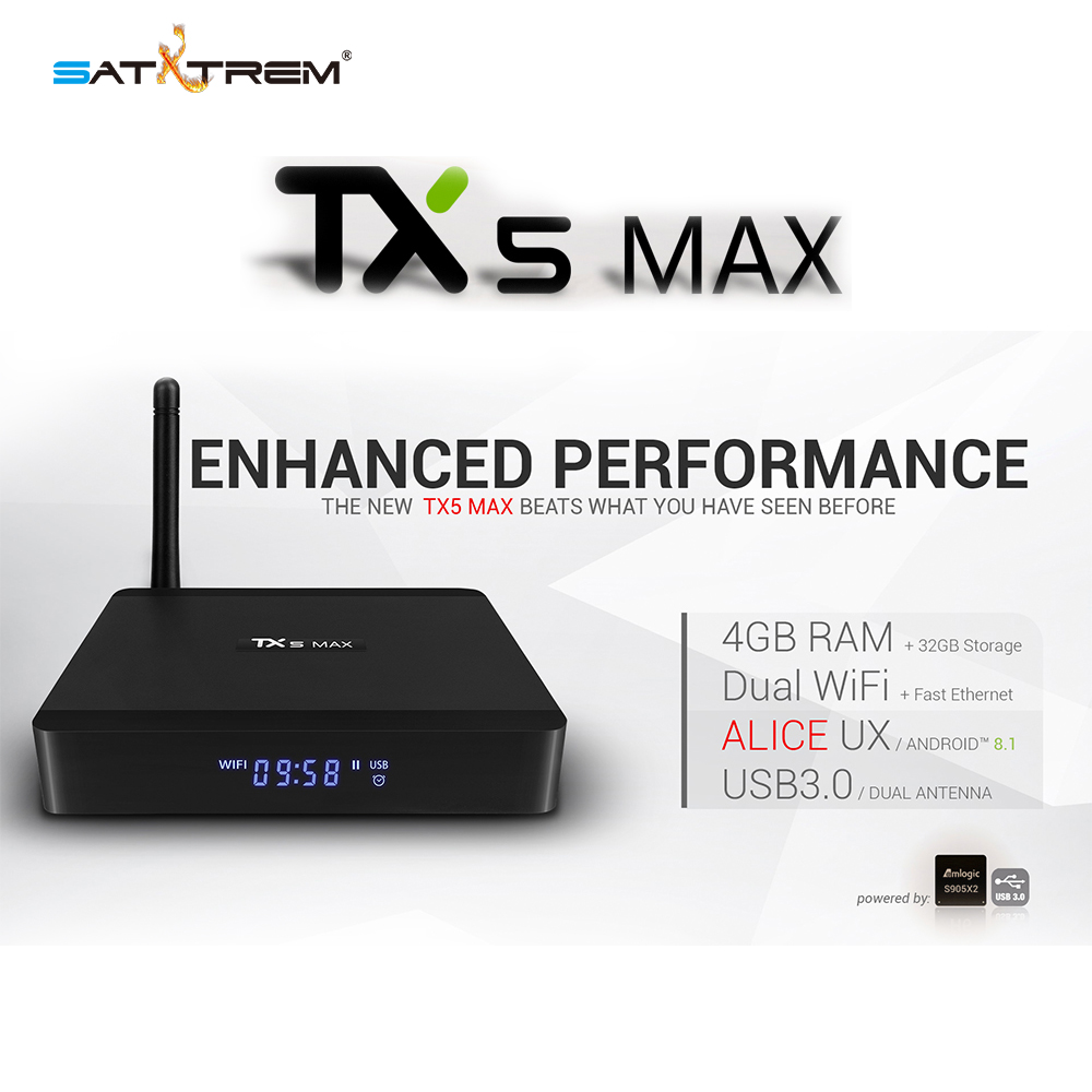 Tanix TX5 MAX Android 8.1 TV Box Smart Box 4 K support IPTV DDR4 4G 32G 2.45.0G double WiFi BT 4.2 Amlogic S905X2 BoxTanix TX5 MAX Android 8.1 TV Box Smart Box 4 K support IPTV DDR4 4G 32G 2.45.0G double WiFi BT 4.2 Amlogic S905X2 Box