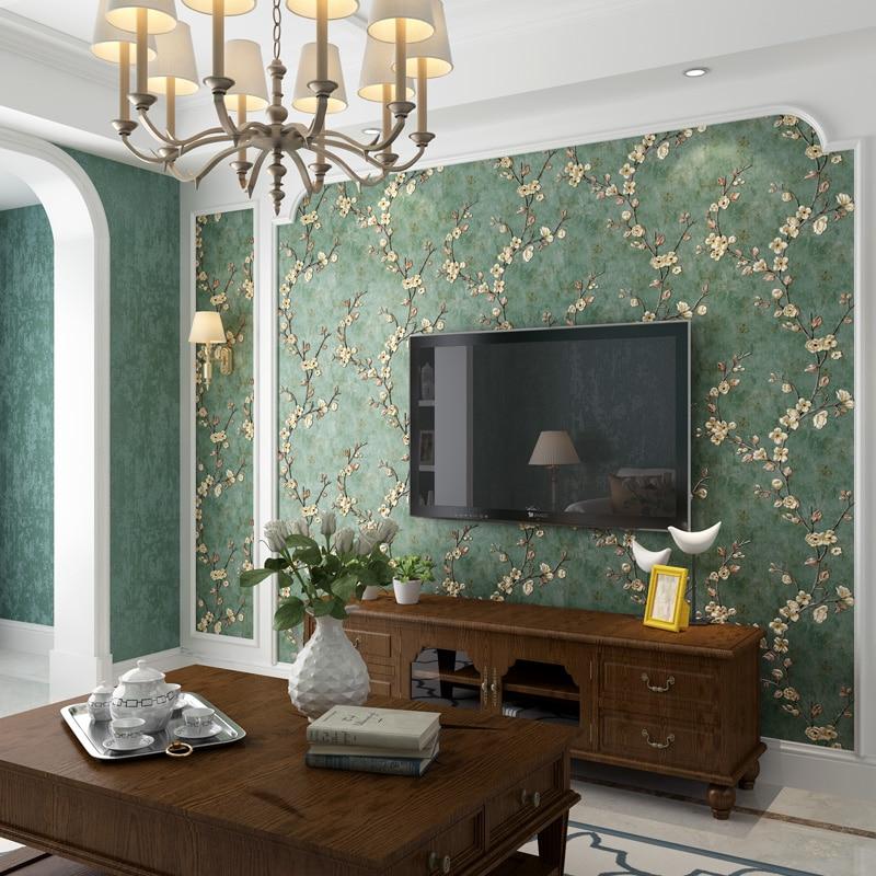 US $22.89 35% OFF|American Style Plum Flower Vintage Wallpaper 3d Embossed  Retro Living Room Decor Wallpapers Roll Mural Floral Papier Peint EZ009-in  ...