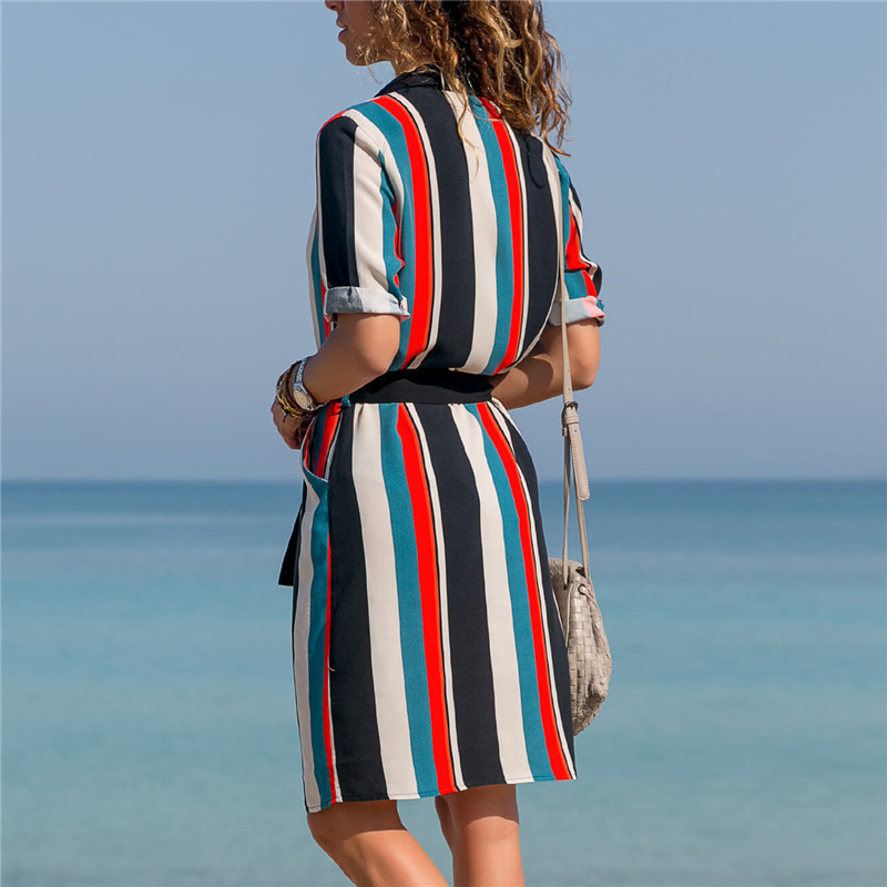 Long Sleeve Shirt Dress 19 Summer Boho Beach Dresses Women Casual Striped Print A-line Mini Party Dress Vestidos 18