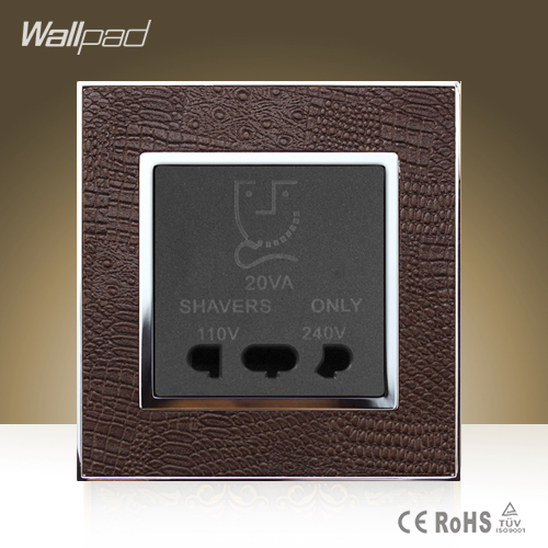 CE BS Approved Wallpad Hotel High Quality Shaver Socket Goats Brown Leather Beard Shaver Power Charger Socket  Free Shipping wallpad luxury double 13 a uk switched socket goats brown leather 1 gang switch and 13a wall socket with neon free shipping