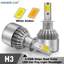 MODERN CAR h3 led Headlight Bulb White/Amber 60W 8000LM Dual Color Car Fog Lamp Bulbs H3 Turn Light COB Lights Headlamp