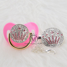 MIYOCAR silver princess bling blue/pink  crown pacifier and clip set BPA free dummy unique design APCG-9-1
