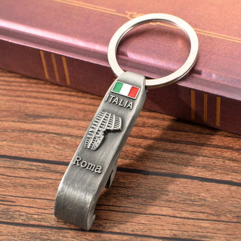 Vicney Italy Roma Key Cahin Beer Opener Keychain Vintage Colosseum Pattern Keyring For Key Italy Roma Tourist Souvenir Key Ring