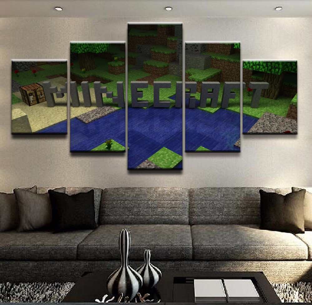 Canvas Printed 5 Pieces Minecraft Logo Wall Art Home Decor Living Room Painting Pictures Game Poster Canvas Artwork Wall Decor in Painting Calligraphy from Home Garden