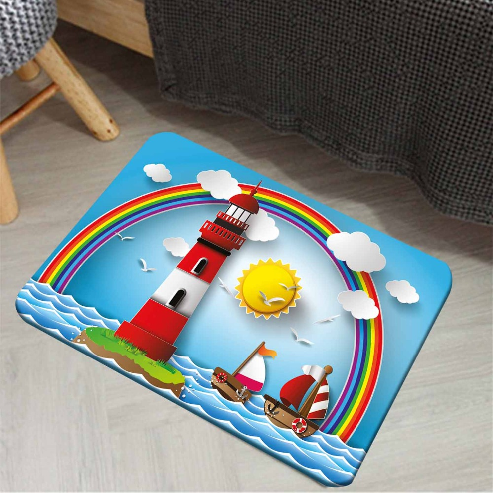 Else Blue Sky Sun Rainbow Red White Lighthouse Ships Sea 3d Print Anti Slip Doormat Home Decor Entryway Kids Children Room Mat