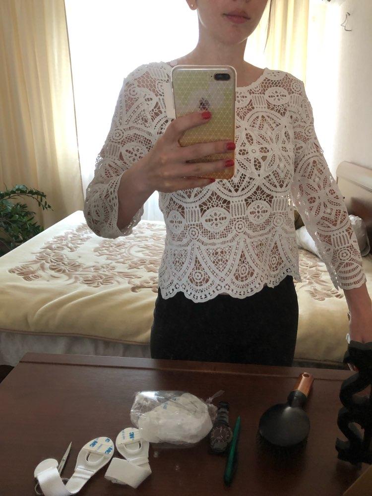 White Hollow Out Blouse Women Lace Boho Korean Lolita Streetwear Shirt Womens Tops Milk Silk Blusas Women Shirts 2019 photo review