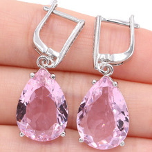 SheCrown 18x13mm Water Drop Shape Pink Kunzite White CZ Gift For Girls Silver Earrings 35x13mm цена