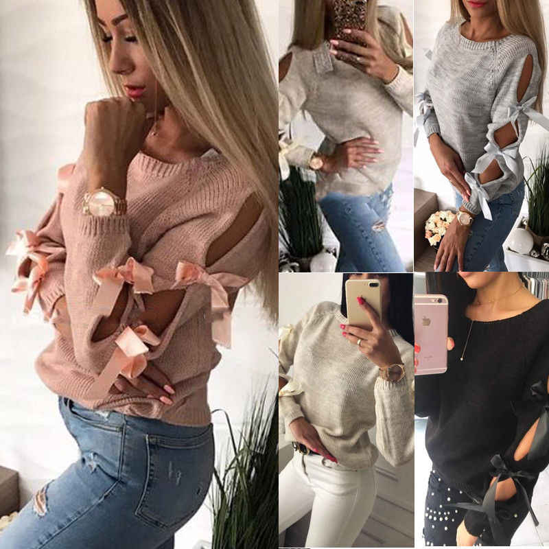 New Autumn Bow Hollow Out Stylish Womens Winter Long Sleeve Sweater Ladies Warm Sweater Jumper Pullover Tops Knitwear HOT