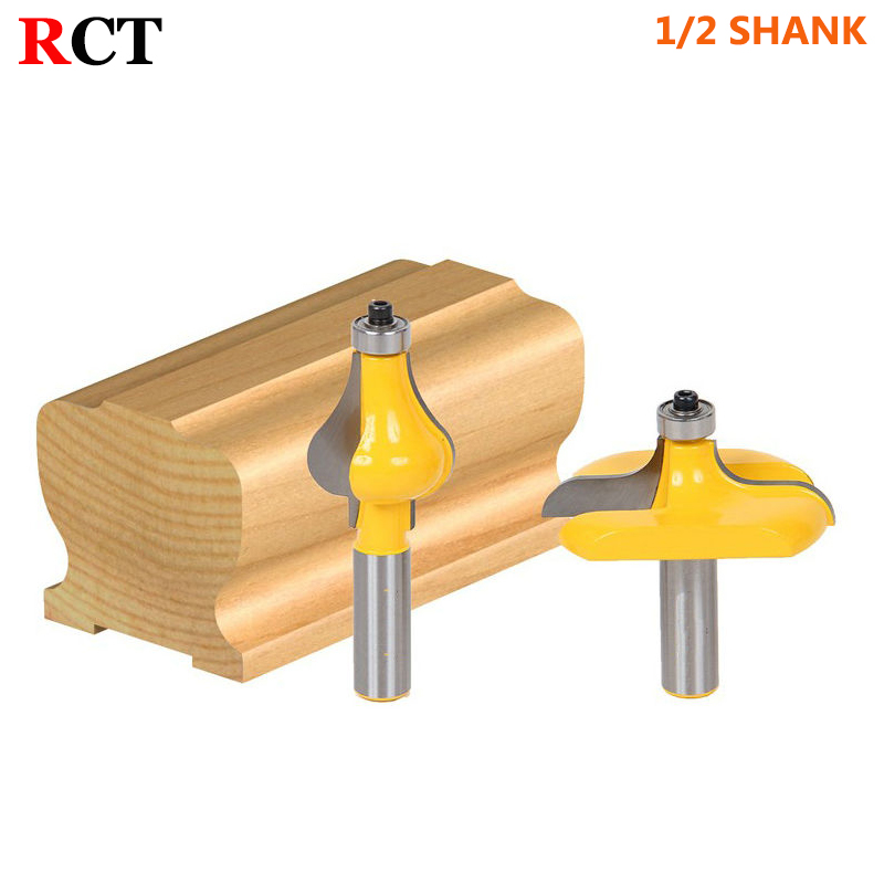 2 Bit Handrail Router Bit Set - Wavy/Flute - 1/2 Shank Woodworking cutter Tenon Cutter for Woodworking Tools 6pc 1 4 shank high quality round over router bit set 1 2 3 8 5 16 1 4 1 8 radius tenon cutter for woodworking tools