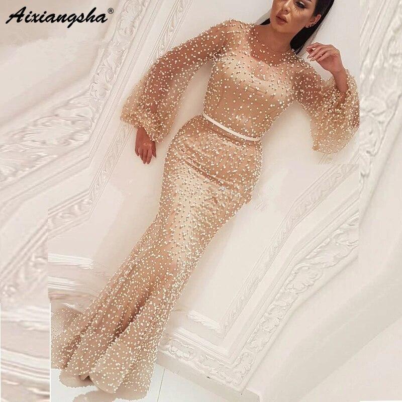 Champagne Muslim   Evening     Dresses   2019 Mermaid Illusion Long Sleeve Formal Islamic Dubai Kaftan Saudi Arabic Long   Evening   Gown