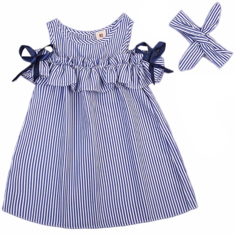 الفتيات حمالة اللباس 2018 الصيف جديد ملابس الأطفال الكورية الأطفال مخطط فساتين في كبيرة الطفل الأميرة اللباس