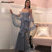 Silve Muslim Evening Dresses 2019 Mermaid Bateau Strapless Wrap Lace Islamic Dubai Kaftan Saudi Arabic Long Evening Gown
