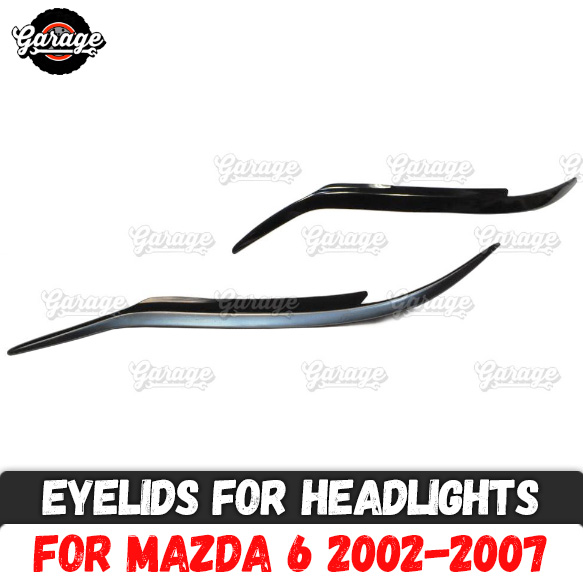 Eyelids for headlights case for Mazda 6 2002 2007 ABS plastic pads cilia eyebrows covers accessories car styling tuning-in Chromium Styling from Automobiles & Motorcycles