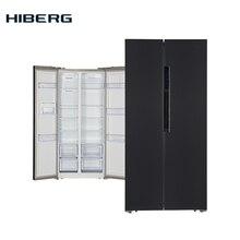 "Холодильник Side-by-Side HIBERG RFS-481DX NFXd, объём 476 л, Total No Frost, 2-х-дверный, высота 178 см, ширина 83,6 см, фасад темная нержавеющая сталь цвет ""мокрый асфальт"""