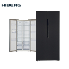 Холодильник Side-by-Side HIBERG RFS-481DX NFXd, объём 476 л, Total No Frost, 2-х -дверный,  высота 178 см, ширина 83,6 см, фасад темная нержавеющая сталь цвет