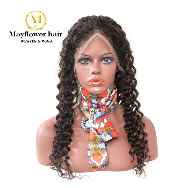 Mayflower 150% Density Full Lace Wig Natural Color 100% Raw Virgin Hair Deep Wave Full Hand Tied With Baby Hair Line Medium Cap