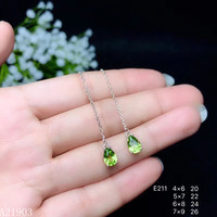 KJJEAXCMY boutique jewelry 925 sterling silver inlaid natural peridot gemstone female earrings ear wire support detection