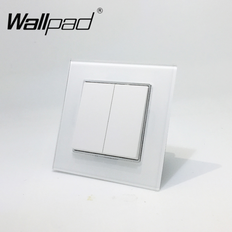 2 Gang 2 Way Switch with Clips Wallpad 110-250V White Glass EU Style 2 Gang 2 Way Double Control Wall Light Switch with Claws smart home eu touch switch wireless remote control wall touch switch 3 gang 1 way white crystal glass panel waterproof power