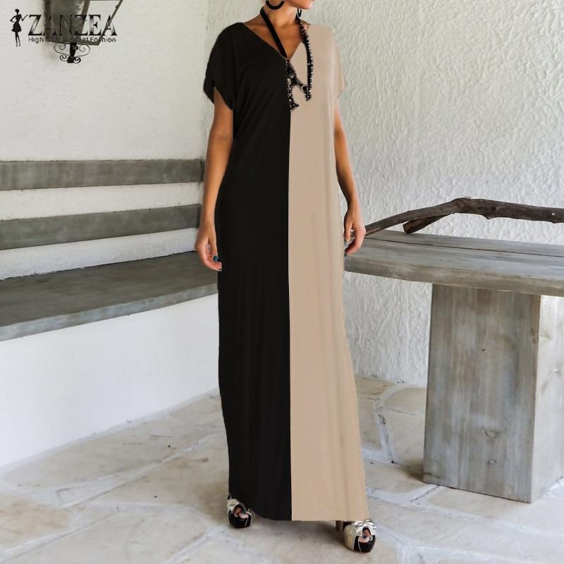 2018 ZANZEA Women Colorblock Stitching V-Neck Short Sleeve Summer Casual Party Straight Maxi Long Dress Kaftan Vestido Plus Size