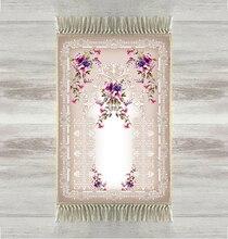 他グレー床紫色の花ローズ 3d トルコイスラム教の祈りの敷物房アンチスリップ現代祈りマットラマダン Eid ギフト