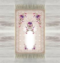 Else สีเทาชั้นดอกไม้สีม่วง Rose 3d ตุรกีอิสลามมุสลิมพรม Tasseled Anti Slip โมเดิร์นเสื่อสวดมนต์ Ramadan Eid ของขวัญ