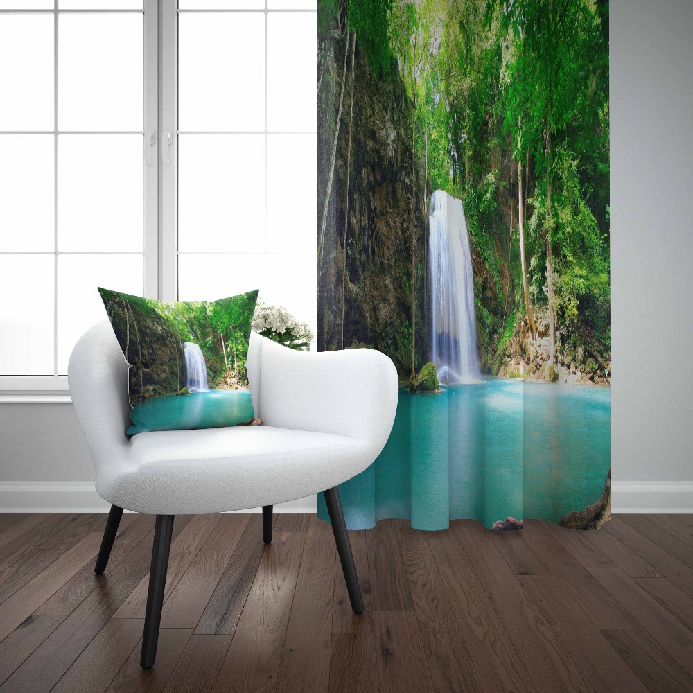 Else Green Mountain Waterfall Lake Nature Floral 3d Photo Print Living Room Bedroom 1 Panel Set Curtain Combine Gift Pillow Case