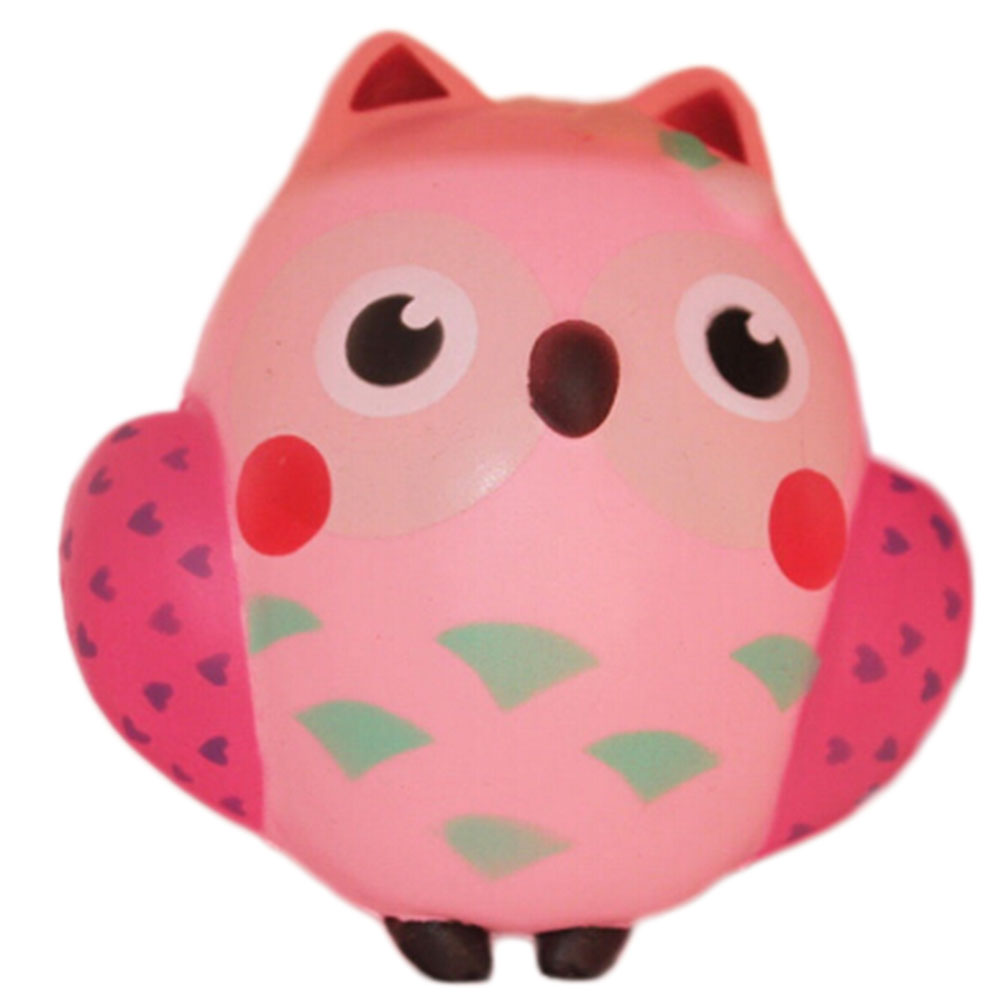 2017 New Arrival 13CM Kawaii Cute Pink Owl PU Soft Slow Rising Squeeze Break Kid Toy Relieve Anxiety Fun Gift