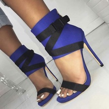 Women High Heel Sandals Gladiator Blue Buckle Heel Covering Stiletto Heels Sandals Mixed Color Peep Toe Shoes women sandals elastic band heel covering stiletto heels shoes women peep toe fringe sandals party shoes 2019 new design