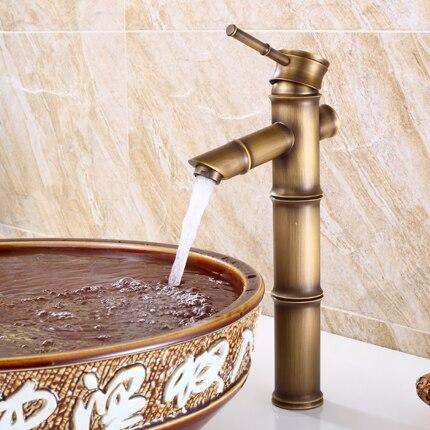 Bamboo Forma bacia Torneira Torneira de Bronze Antigo Torneira Acabamento de bronze Antigo Torneira Da Pia Único Punho Água Quente e Fria de Cobre Torneira