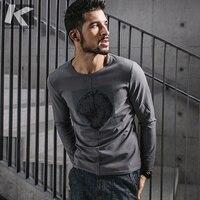 KUEGOU 2017 Autumn New Fashion Men T Shirt Brands Casual Slim Mens Long Sleeve T Shirt