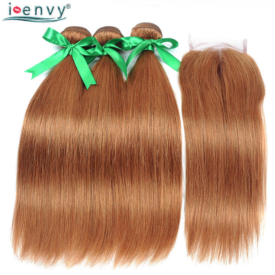 I envy Gold Blonde Bundles With Closure Straight Colored 30 Human Hair Bundles With Closure Brazilian Hair Weave Bundles NonRemy