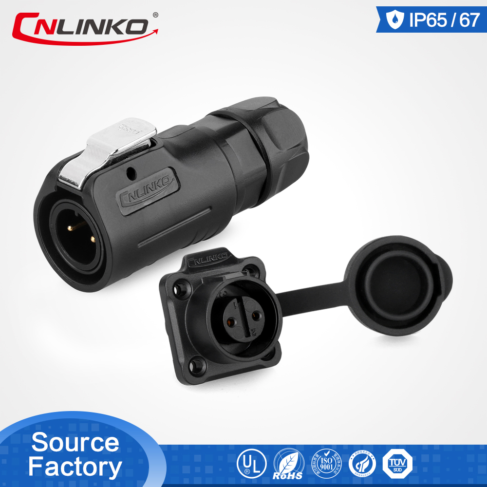 Cnlinko Multi Core DIN IP67 2 Pin 5A PBT Circular Connector Material LED Connector Electronical Quick Locking Power Plug Socket