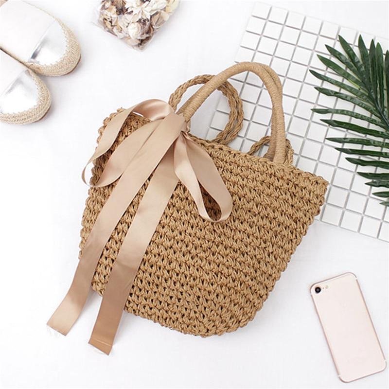 Osmond Ribbon Bowknot Straw Tote 2017 Bohemian Summer Beach Handbag - Պայուսակներ - Լուսանկար 2