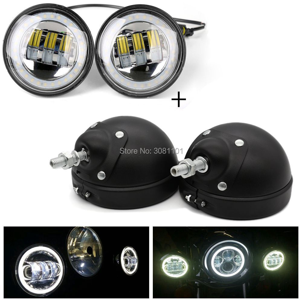 4.5 Halo Ring Chrome Daymaker Fog Passing Light+4.5 Black Mount Bracket for Harley Heritage Softail Road King Touring