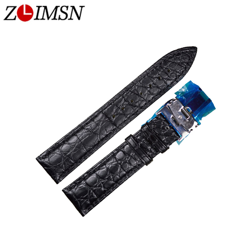 где купить ZLIMSN Alligator Leather Watch Bands Strap 20mm Black Beiges Genuine Leather Watchbands Accessories Butterfly Buckle Silver по лучшей цене