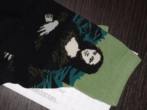 ткань; смешные носки:: Носки с принтом; случайные; мода;