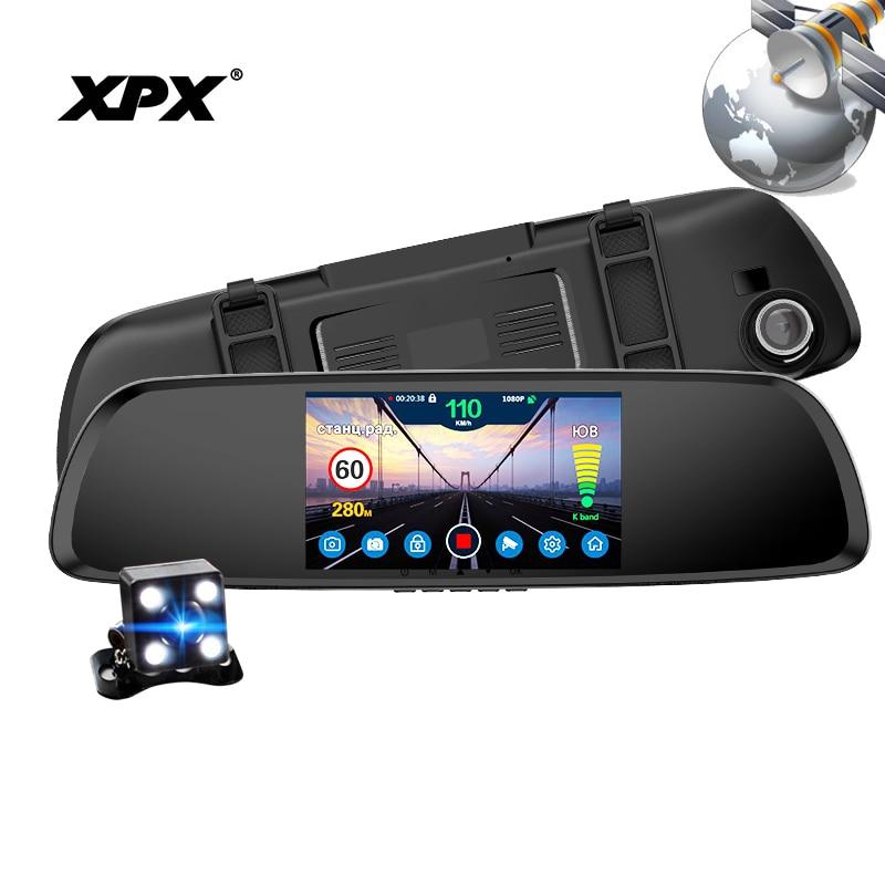 Dash cam XPX G616-STR Auto dvr 3 in 1 GPS Radar Dvr rückansicht kamera Auto DVR spiegel Kamera auto volle HD G-srnsor Auto kamera rekord