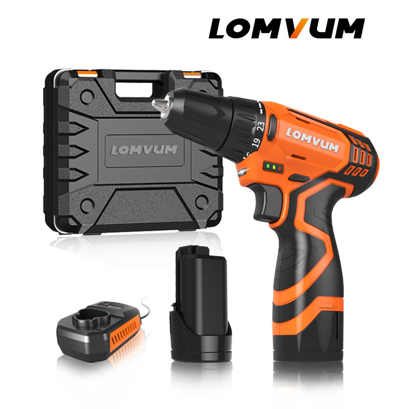 LOMVUM New 12 16 25V Electric Drill Hammer Cordless Drills Lithium Ion Battery Screw rotary tool