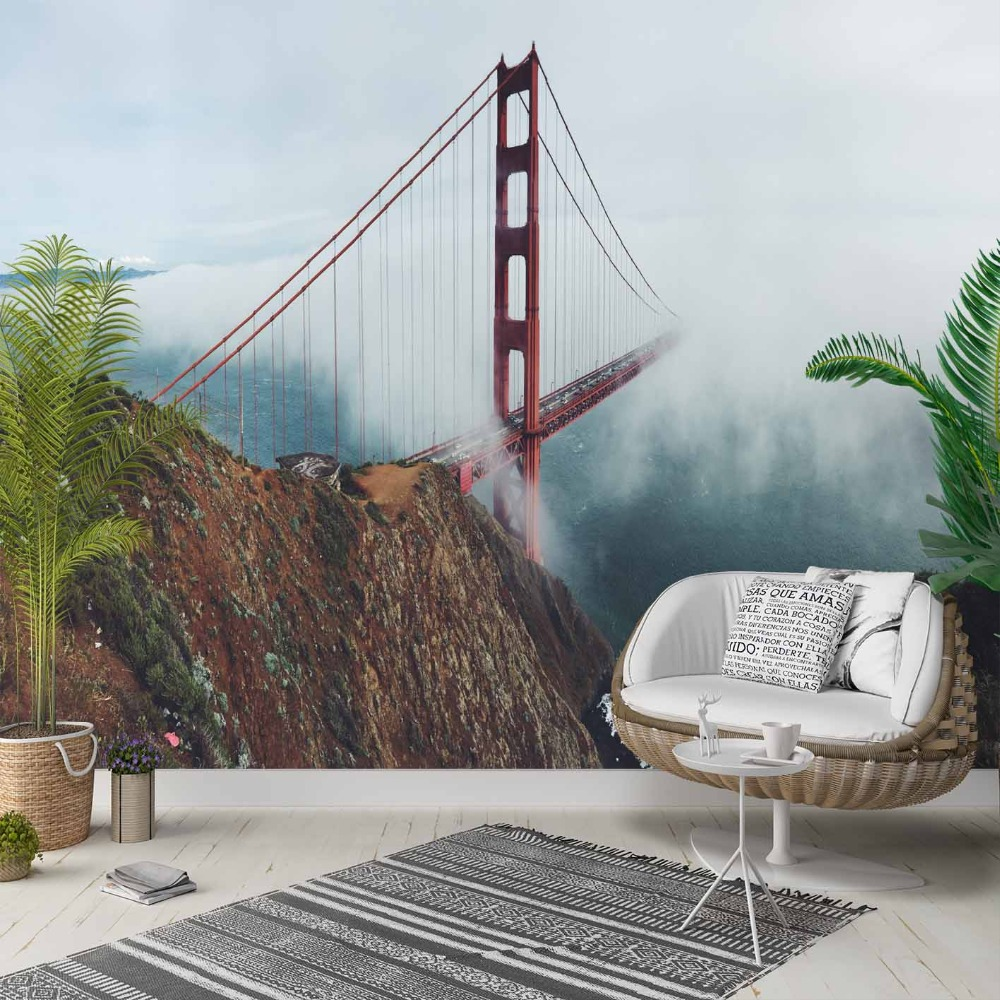 Else Mountain Sky Red Bridges Jungle Floral 3d Photo Cleanable Fabric Mural Home Decor Living Room Bedroom Background Wallpaper