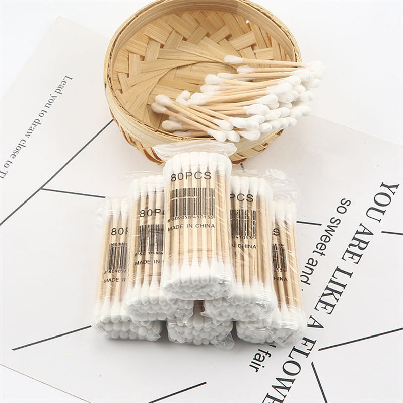 1 Pack 80Pcs Double Head Wood Cotton Swab Health Makeup Cosmetics Nose Ear Cleaning Tools Cotton Swab Stick Buds For Medical Use