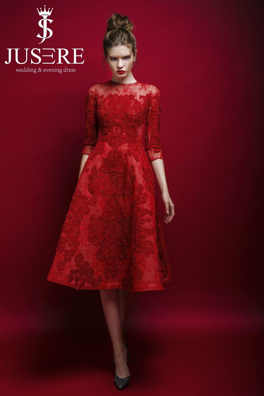 2018 Elegant Jusere A-Line Burgundy Customized O-Neck Three Quarter Appliqued Beaded Tea-Length   Prom     Dresses   Evening Party Gown