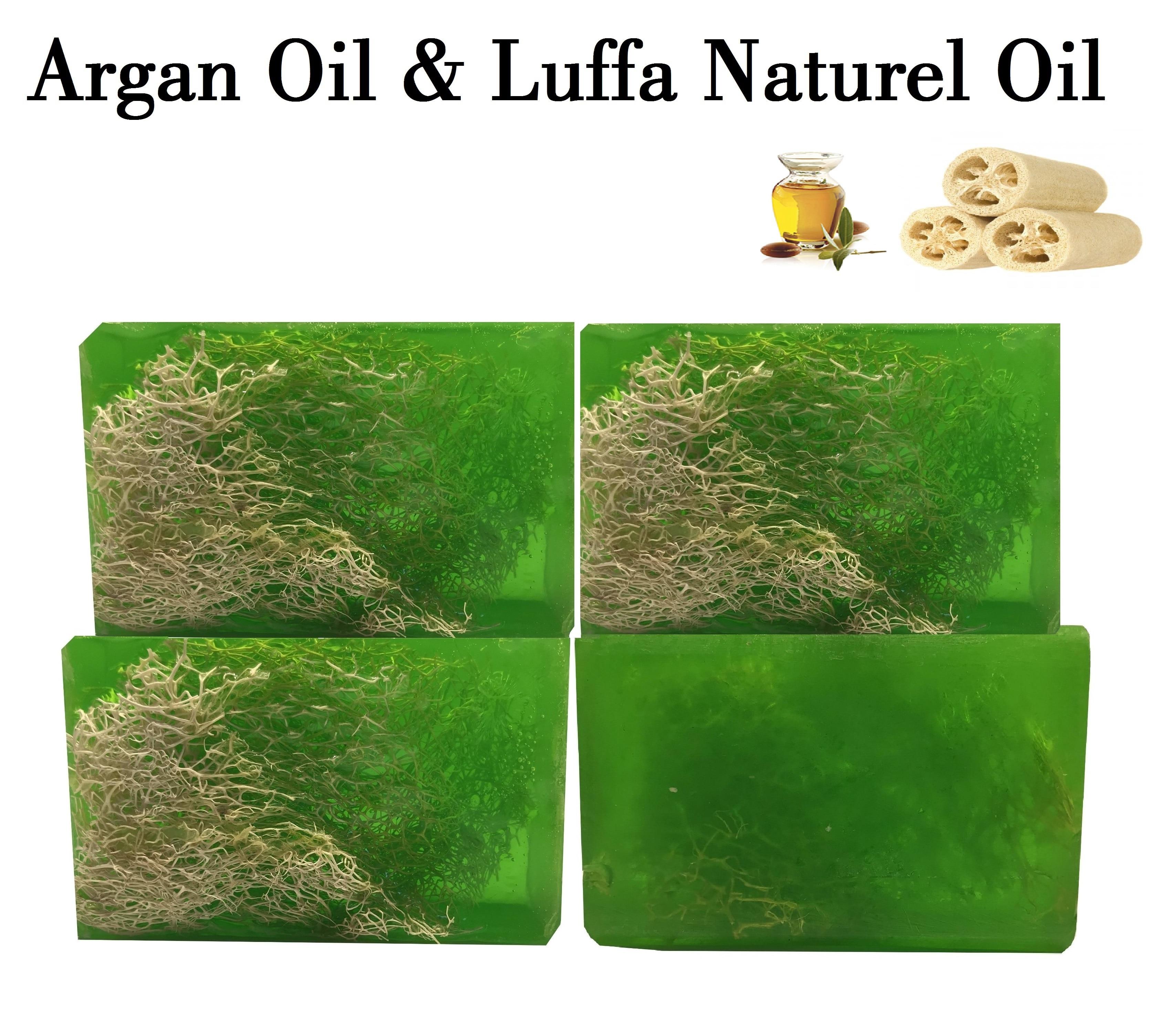 Natural ARGAN Oil Soap With LUFFA Massage Effect Moisturizing PH Value Skin Rich Vitamin ACDB Strong Antioxidan Anti-Aging 4 Pcs