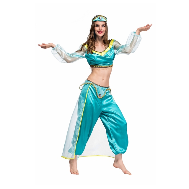 Coslive Halloween Women Fairy Tales Aladdin's lamp Princess Jasmine Costume Sexy Arab Belly Cosplay Carnival Nightclub Dress 1