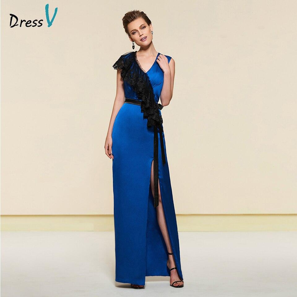 Dressv élégant denim bleu dentelle col en v mère de mariée robe zipper up étage longueur longue mère robe de soirée robes personnalisé