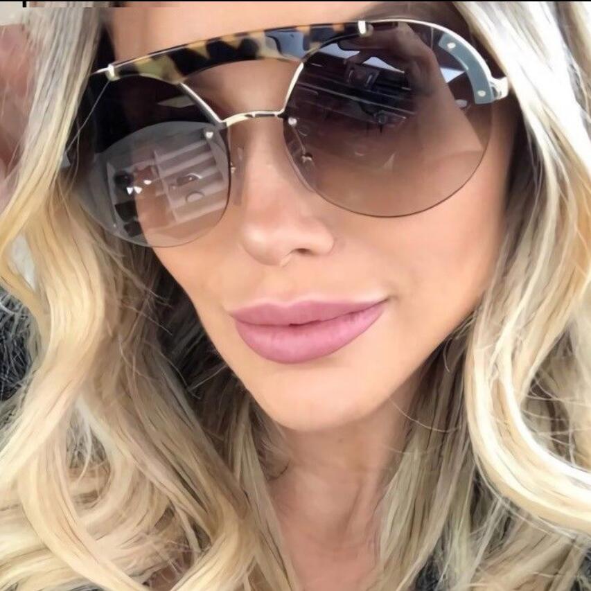 Frau Mode 2020 Luxus Sonnenbrille Doppel Brücke Übergroße Runde Sonnenbrille Vintage Gläser Marke Designer Schildkröte Brillen
