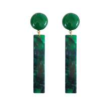 Female long acetate exaggerated personality Green dazzle colour circular eardrop tide female earrings