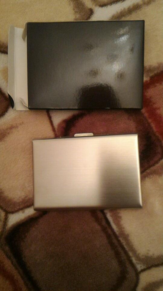 High-Grade stainless steel men credit card holder women metal bank card case card box rfid card wallet photo review