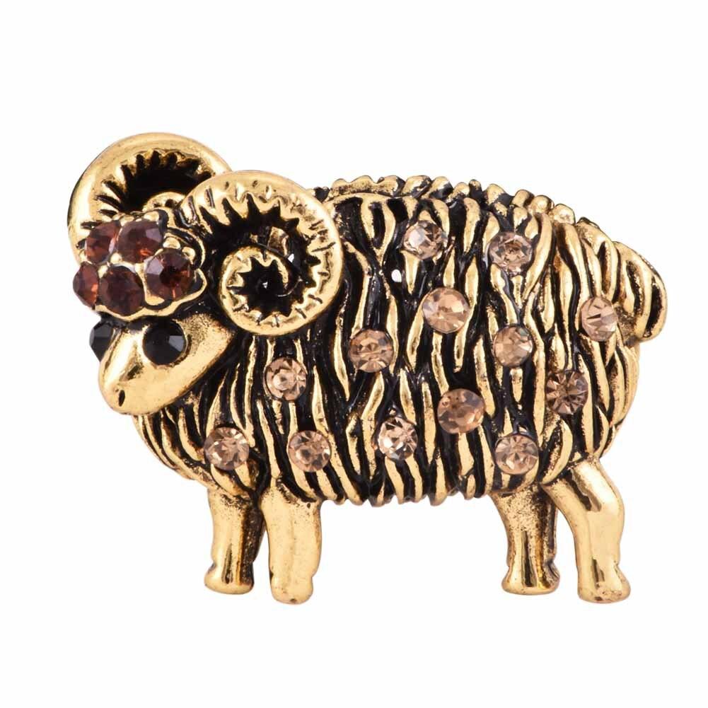 2018 Vintage Brooches Beautiful Crystal Sheep Brooch Rhinestone cute Animal Lapel Pin women girl lovely cute brooch gift