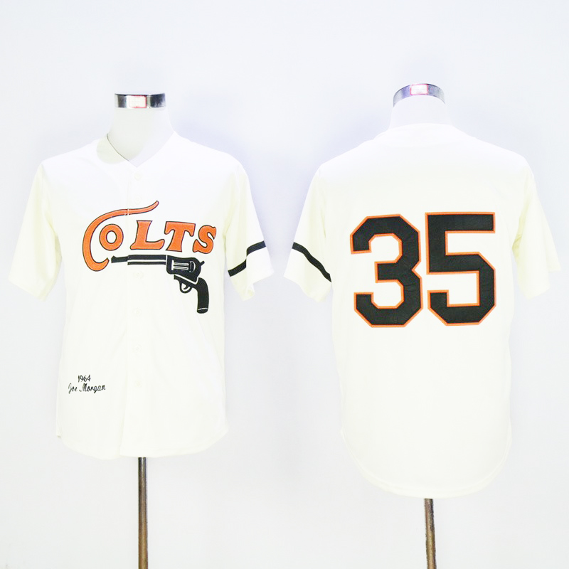 ... baseball jersey  houston colts movie baseball jerseys 35 joe morgan 2  nellie fox 24 jimmy wynn cream retro 73cd77bb7